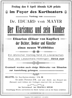 Invitation for a lecture in the Kursaal Locarno during de World Summit of the Claristic Society 1921